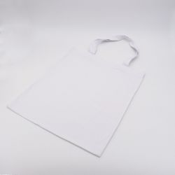 Kundenspezifische wiederverwendbare Baumwolltasche 38x42 CM | BAUMWOLLE TOTE TASCHE | SIEBDRUCK AUF EINER SEITE IN EINER FARBE