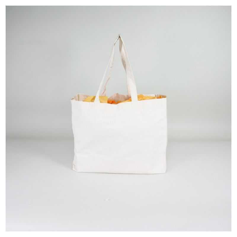 Sac coton réutilisable personnalisé 48x20x40 CM | SHOPPING BAG EN COTON | IMPRESSION EN SÉRIGRAPHIE SUR DEUX FACES EN UNE COU...
