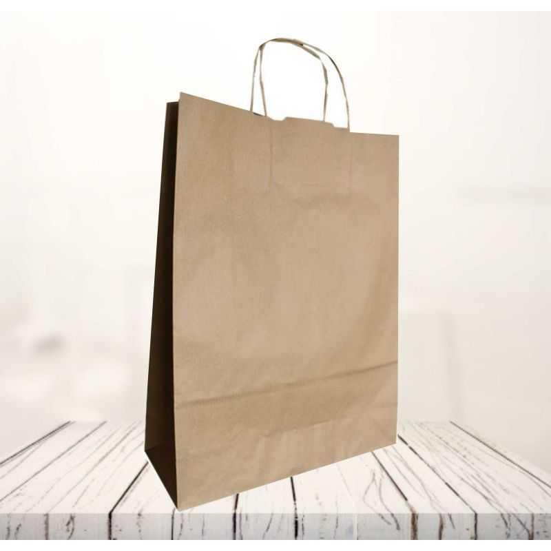 Safari kraft paper bag32x12x41 CM | SHOPPING BAG SAFARI | FLEXO PRINTING IN TWO COLOURS ON FIXED AREAS