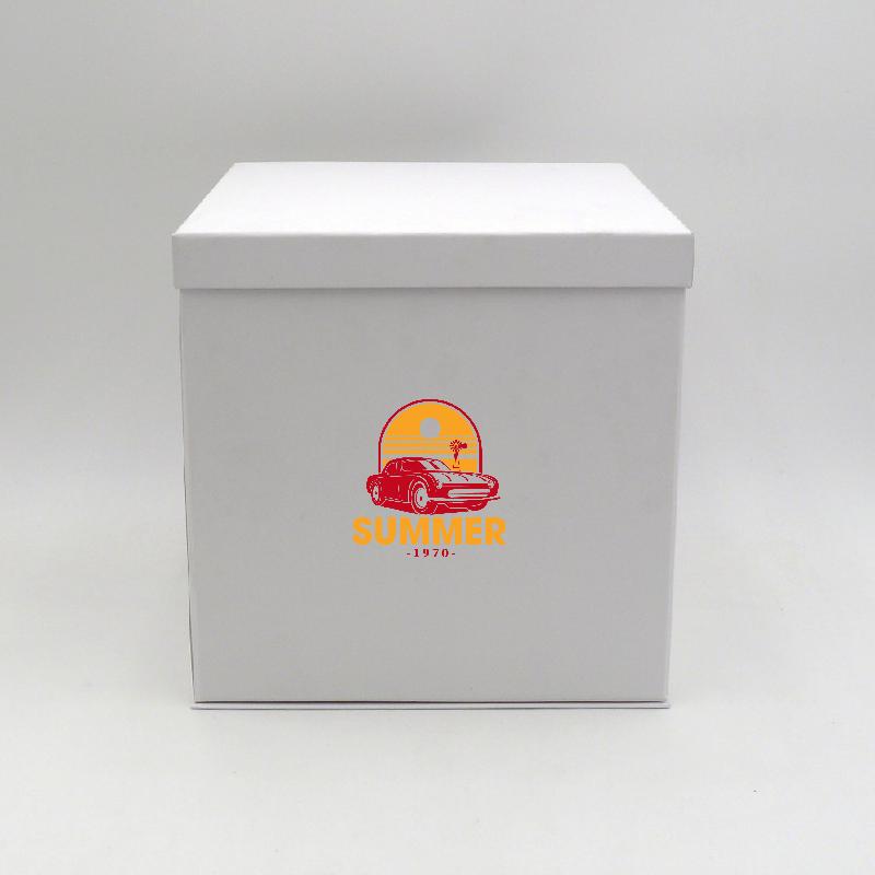 Caja personalizada Flowerbox 25x25x25 CM | CAJA FLOWERBOX | IMPRESIÓN SERIGRÁFICA DE UN LADO EN DOS COLORES