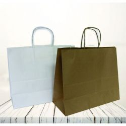 Safari kraft paper bag32x21x27 CM | SAC PAPIER SAFARI | IMPRESSION FLEXO EN DEUX COULEURS SUR ZONES PRÉDÉFINIES