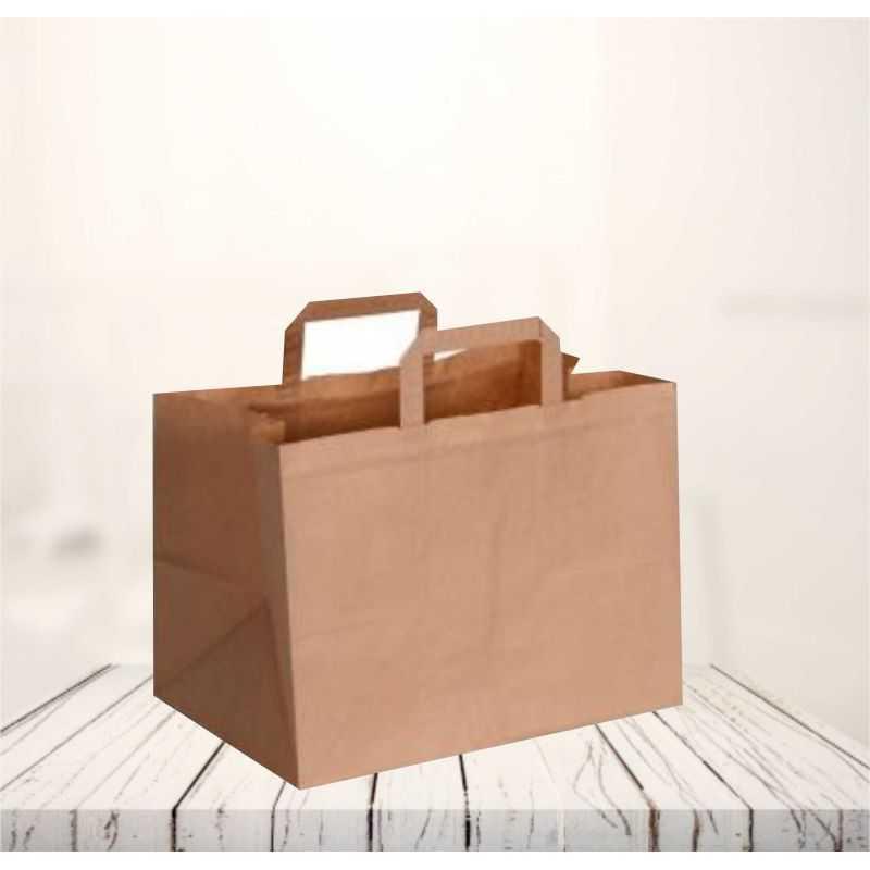 Box kraft papierzak26x17x25 CM | SAC PAPIER BOX | IMPRESSION FLEXO EN UNE COULEUR SUR ZONES PRÉDÉFINIES