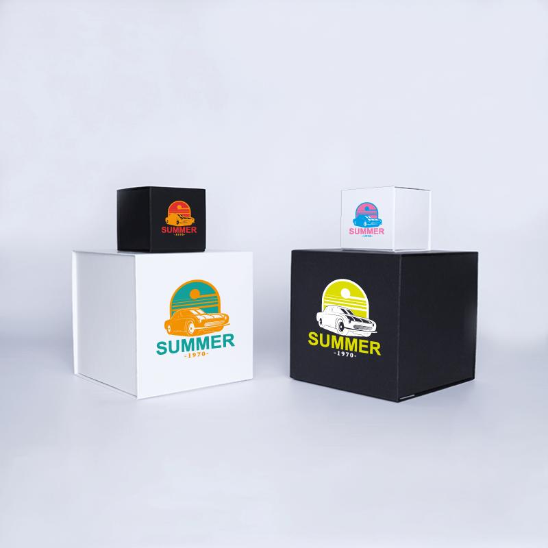 Caja magnética personalizada Cubox 22x22x22 CM   CAJA CUBOX   IMPRESIÓN SERIGRÁFICA DE UN LADO EN DOS COLORES
