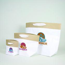 Personalisierte Papiertüte aus Zement 28x18x30 CM | PREMIUM CEMENT PAPIERBEUTEL | ZWEI-SEITIGER SIEBDRUCK IN ZWEI FARBEN