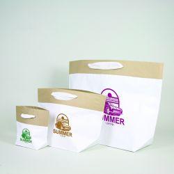 Personalisierte Papiertüte aus Zement 45x18x45 CM | PREMIUM CEMENT PAPIERBEUTEL | SIEBDRUCK AUF EINER SEITE IN EINER FARBE