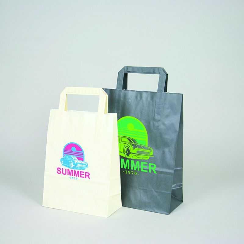 Bolsa personalizada Box 26x17x25 CM | BOLSA BOX | IMPRESIÓN FLEXOGRÁFICA EN DOS COLORES EN ZONAS PREDEFINIDAS EN AMBOS LADOS