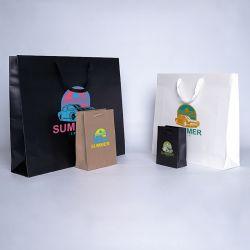 Noblesse personalisierte Papiertüte 12x6x16 CM | LAMINIERTE NOBLESSE-PAPIERBEUTEL | ZWEI-SEITIGER SIEBDRUCK IN ZWEI FARBEN