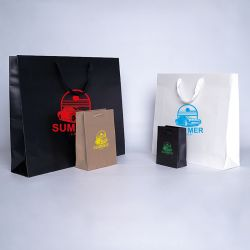 Customized Personalized shopping bag Noblesse 12x6x16 CM | LAMINATED NOBLESSE PAPER BAG | SCREEN PRINTING ON TWO SIDES IN ONE...