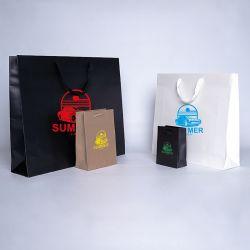 Shopping bag personalizzata Noblesse 16x8x23 CM   SHOPPING BAG NOBLESSE LAMINATA   STAMPA SERIGRAFICA SU UN LATO IN UN COLORE