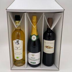 Cuña 3 botella Cuña Caja para 3x botella