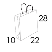 22 x 10 x 28 cm (vordefinierter Bereich 1/2 Farben)