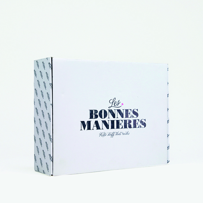 White cardboard shipping box that is customized
