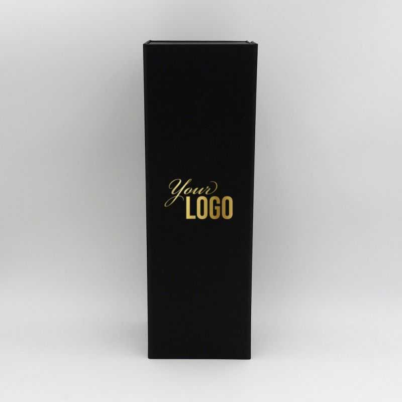 Bottlebox, Cardboard giftbox for bottles in black with golden printing
