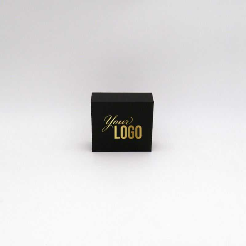 Small magnetic cardboard box with logo printing in black and gold